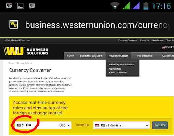 Cara Mengecek Konversi kurs Mata Uang Western Union di HP Android