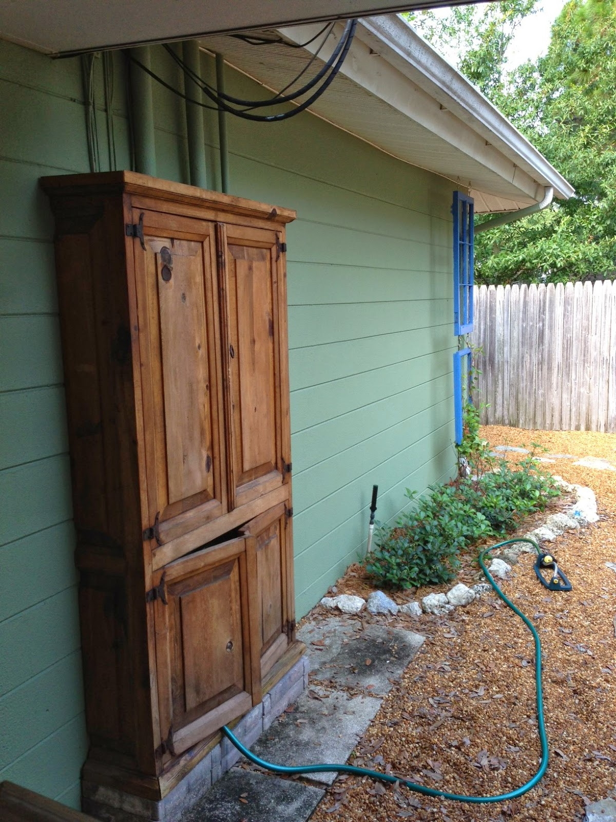 Shabby Glam Armoire Covers Unsightly Wires
