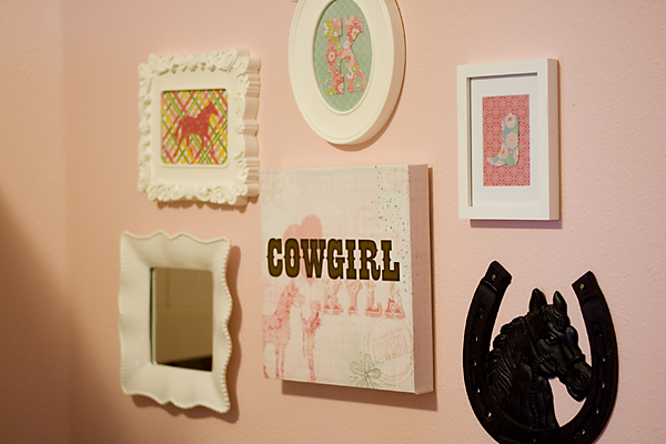 DIY Horse Gallery Wall made with digital scrapbook materials.