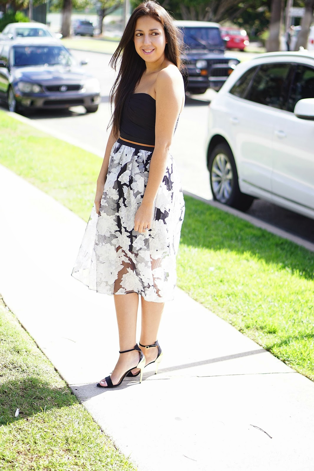 Express, Windsor, Windsor Store, Windsor Store Ivory Floral Midi Skirt, Zara heels, Express One Shoulder Black Dress, How To Make An Old Dress New Again, Perfect Fall Midi Skirt, Mesh Overlay Midi Skirt, Floral Print Midi Skirt
