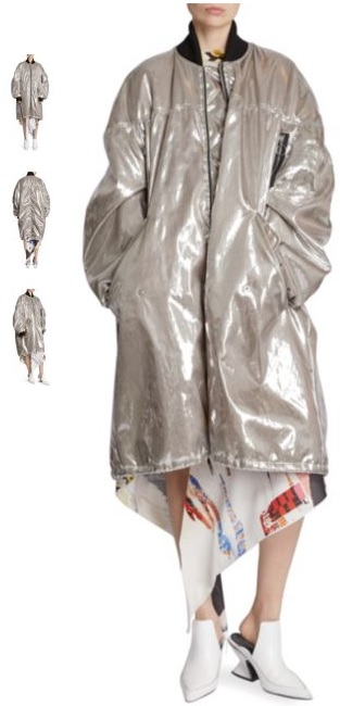 Oversized Metallic Bomber Coat