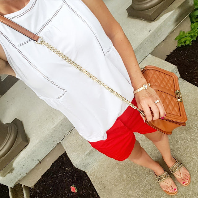 Old Navy Crochet Trim Trapeze Tank - only $10 (reg $20) // J. Crew Factory Chino Shorts - on sale for $16 (reg $33) // Arturo Chiang Lyra Sandals - only $37 (reg $69) // Rebecca Minkoff Love Crossbody Handbag (I found an awesome look-a-like bag for only $35! Target just added a new look-a-like bag too and it's only $20, reg $30 with code MEMDAY) // Purple Peridot Cuff Bracelet - sold out in clear, but on sale for $8 (reg $25)