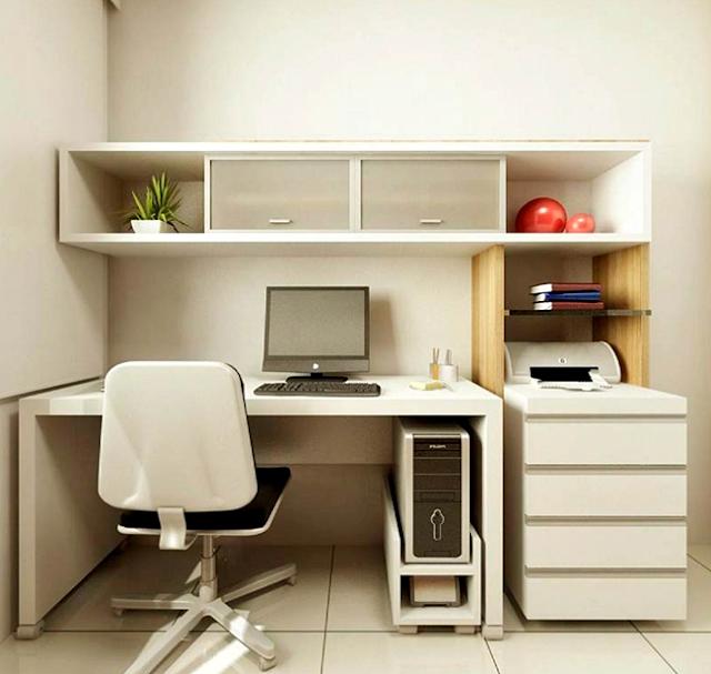 11 Desain Model Meja Kerja Minimalis Untuk Rumah dan Kantor Berukuran Kecil Bernuansa Putih dengan Tema Clean and Fresh