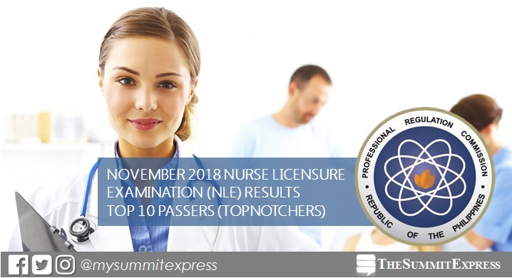 RESULTS: November 2018 Nursing board exam top 10 passers