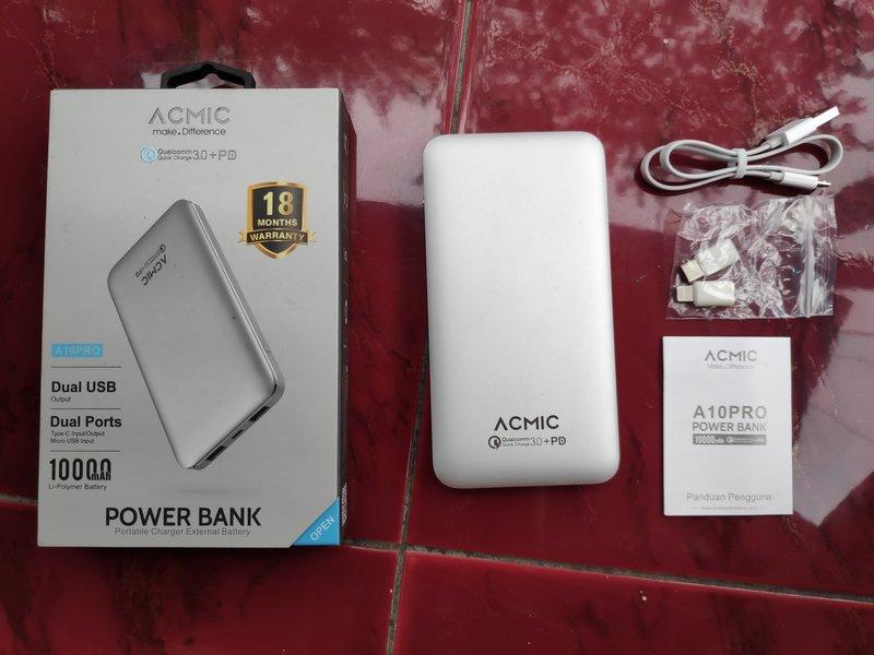 Paket Pembelian Acmic A10Pro Gen2 10000mAh