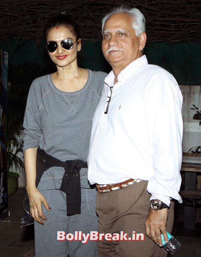 Rekha in sweatpants, Ramesh Sippy, Sonali Cable Screening Photos