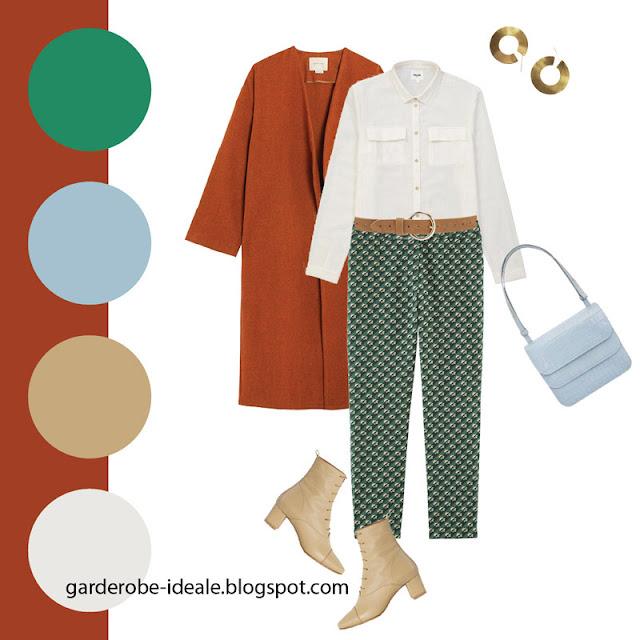 Рубашка в утилитарном стиле с зелеными брюками