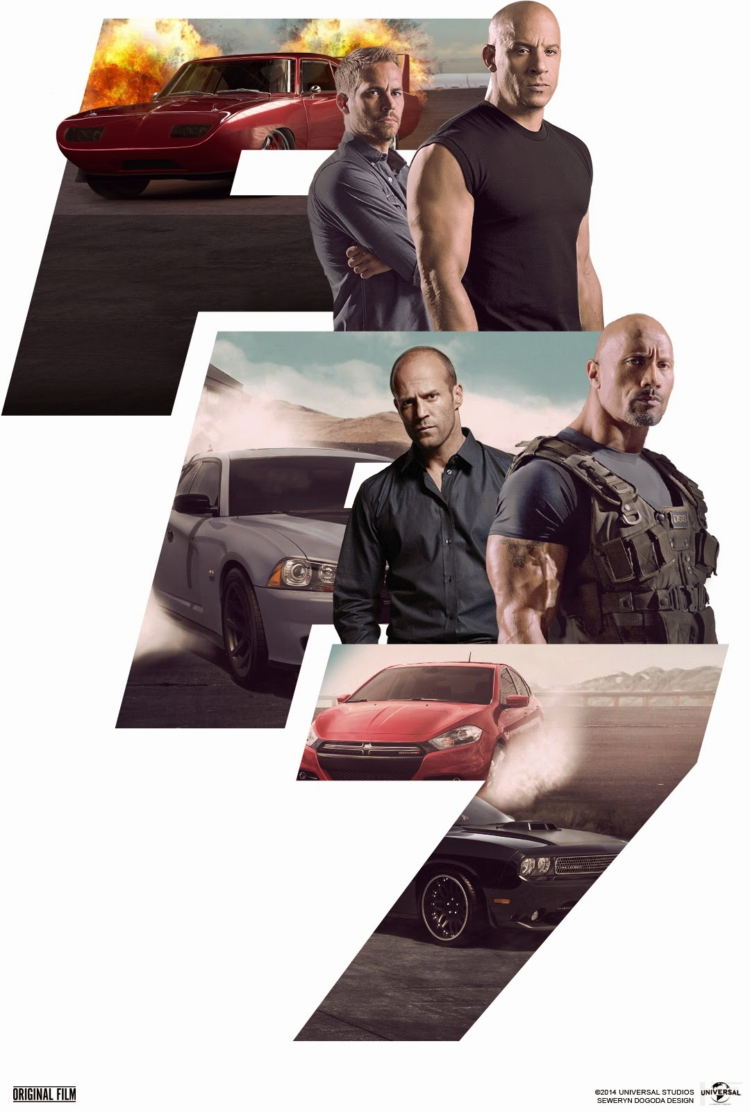 Fast & Furious 7, Furious 7, Directed by James Wan, Movie Poster, starring Vin Diesel, Dwayne Johnson, Paul Walker