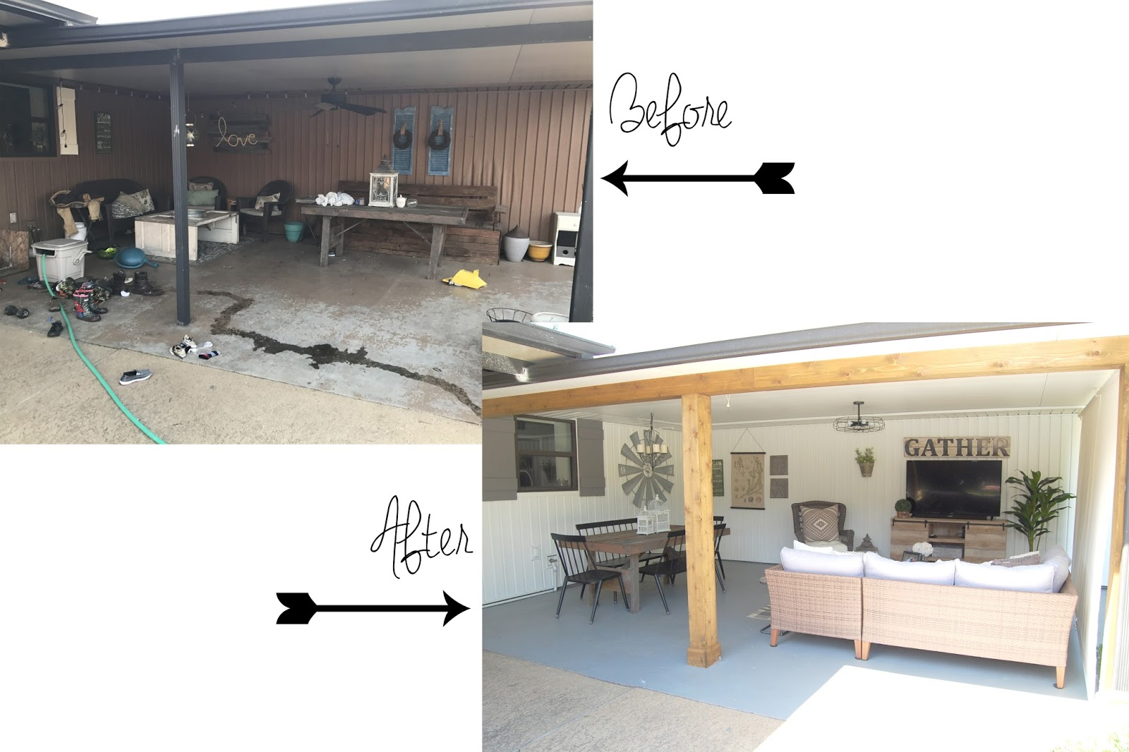 Before This Patio Was DARK, Cluttered, Full Of Hand Me Downs And Failed DIY  Projects, And Just Plain Outdated! Our House Has A Milk Chocolate Brown  Vinyl ...