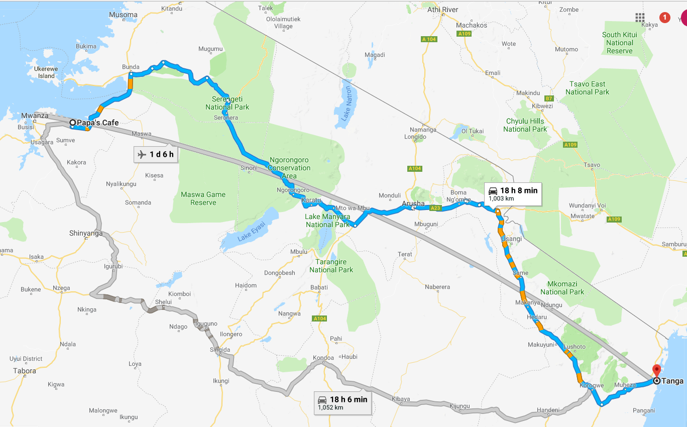 google maps drive map from our sister school to tanga on the coast