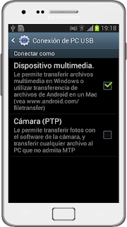 Opciones USB Samsung Galaxy con Jelly Bean