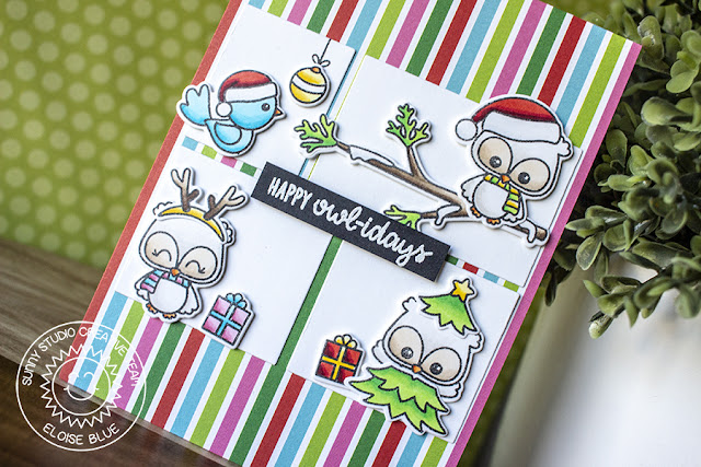 Sunny Studio Stamps: Happy Owlidays Comic Strip Everyday Dies Colorful Holiday Card with Eloise Blue
