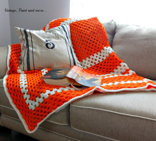 Vintage, Paint and more... simple crocheted afghan done in granny square pattern