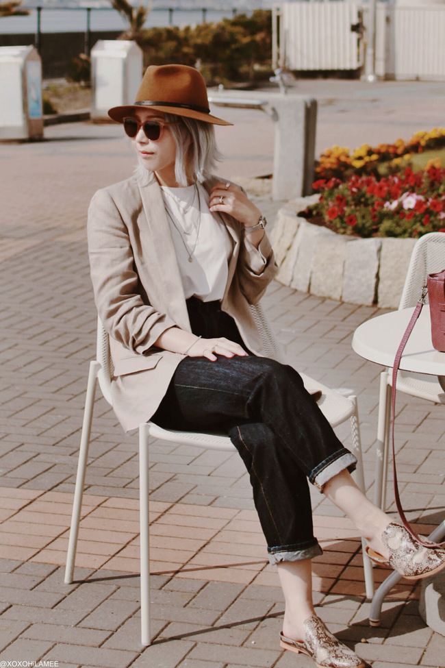 Japanese Fashion Blogger,MizuhoK, ZARA=linen jacket, SheIn=white tee, GU=jeans,python slippers,3layer necklace, DIESEL=fedora hat, zeroUV=sunglasses, ZAFUL=burgundy bag, Olivia Burton=watch