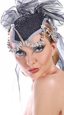 bbb53541f0e Black Wedding Cocktail hat in Nile Perchskin with freshwater pearls photo  by Rudi Amedeus