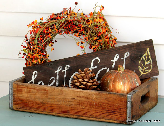 fall decor, autumn, porch, pumpkin, crate, pine cone, hello fall, hand lettered sign,http://bec4-beyondthepicketfence.blogspot.com/2015/09/ushering-in-autumn-bit-by-bit.html