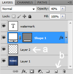 Layer opacity tombol layer baru - Cara Membuat / Mendesain Gambar Watermark di Photoshop