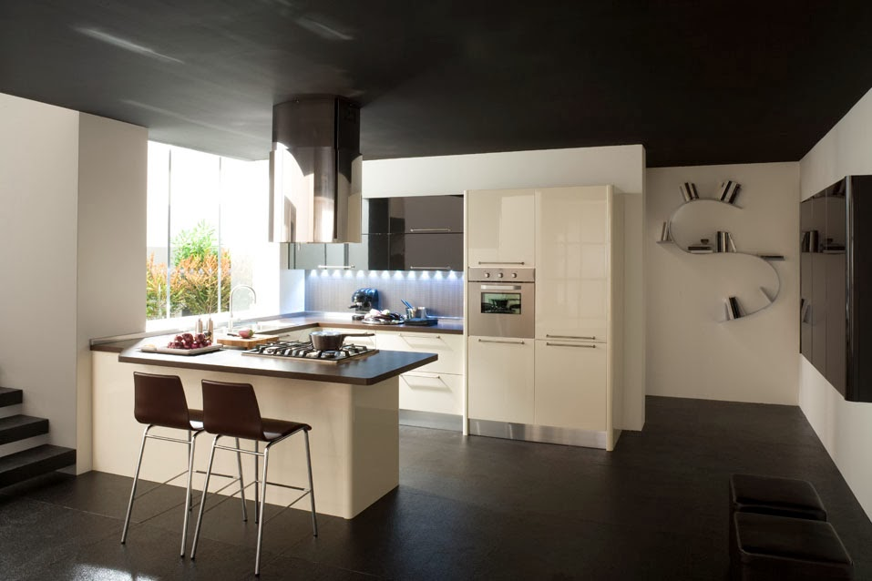 Decorar cocinas en blanco y negro colores en casa - Cucina bianca e marrone ...