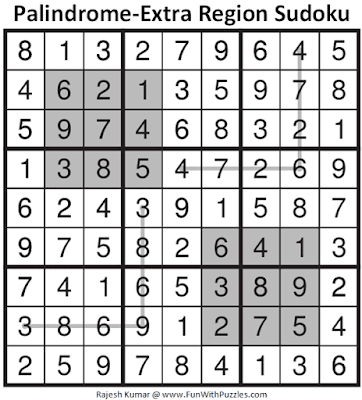 Answer of Palindrome-Extra Region Sudoku Puzzle (Fun With Sudoku #362)