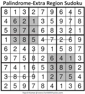 Answer of Palindrome-Extra Region Sudoku Puzzle (Fun With Sudoku #362)