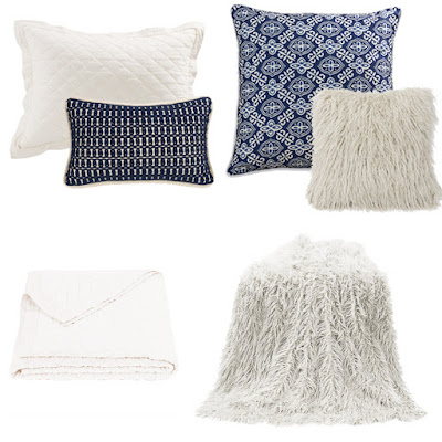 Vintage White Diamond Linie Quilt and pillow sham, Mongolian Fur throw and pillow, Monterey bedding accent pillows