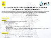 Lowongan Pegawai PT PLN Tingkat Pelaksana 2016