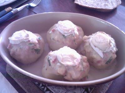 Recette Pommes de terre farcies au jambon et au chèvre
