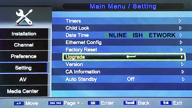 echqlink 777 HD Receiver  upgrade menu