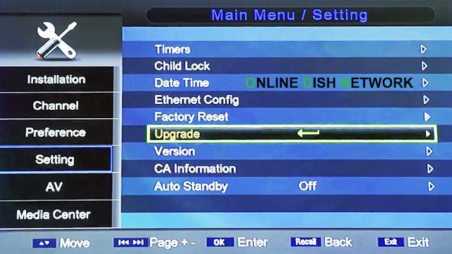 echqlink 777 HD Receiver  upgrade menu