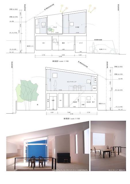 空に開く青いパティオをめぐる家 断面計画 内観イメージ