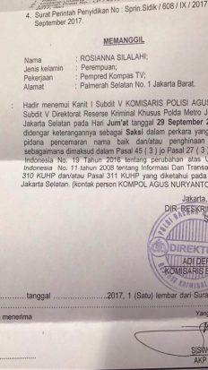 surat panggilan rosiana - Polda Metro Periksa Pemred dan Pembawa Acara Kompas TV