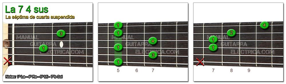 Acordes Guitarra La Séptima cuarta suspendida - A 7 4sus