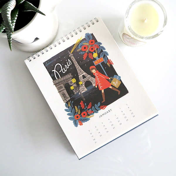 Rifle Paper Co. 2016 travel desktop calendar, Voluspa Saijo Persimmon candle, Anthropologie monogram mug, succulent