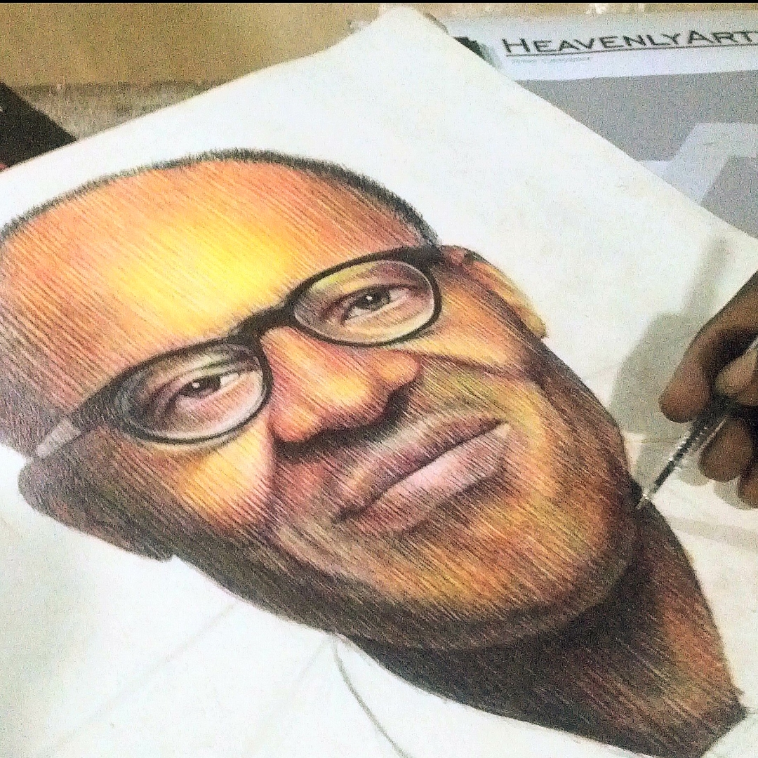 Change a creative coloured pencil drawing of muhamadu buhari president of nigeria