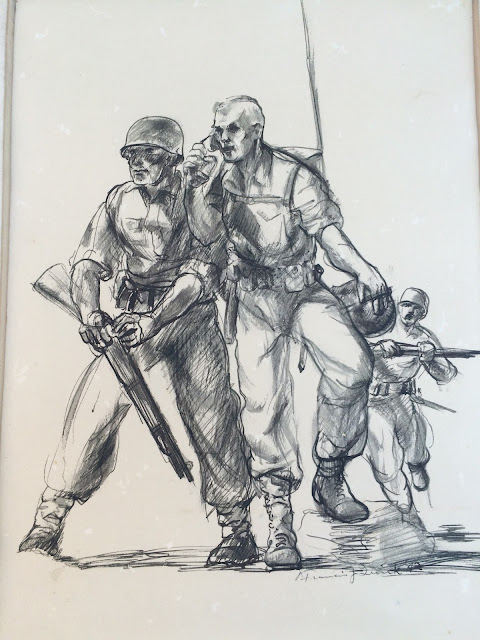 Francis Quirk ink drawing of soldiers