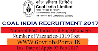 1319 Vacancies in Coal India Limited Recruitment 2017-Manager Officer