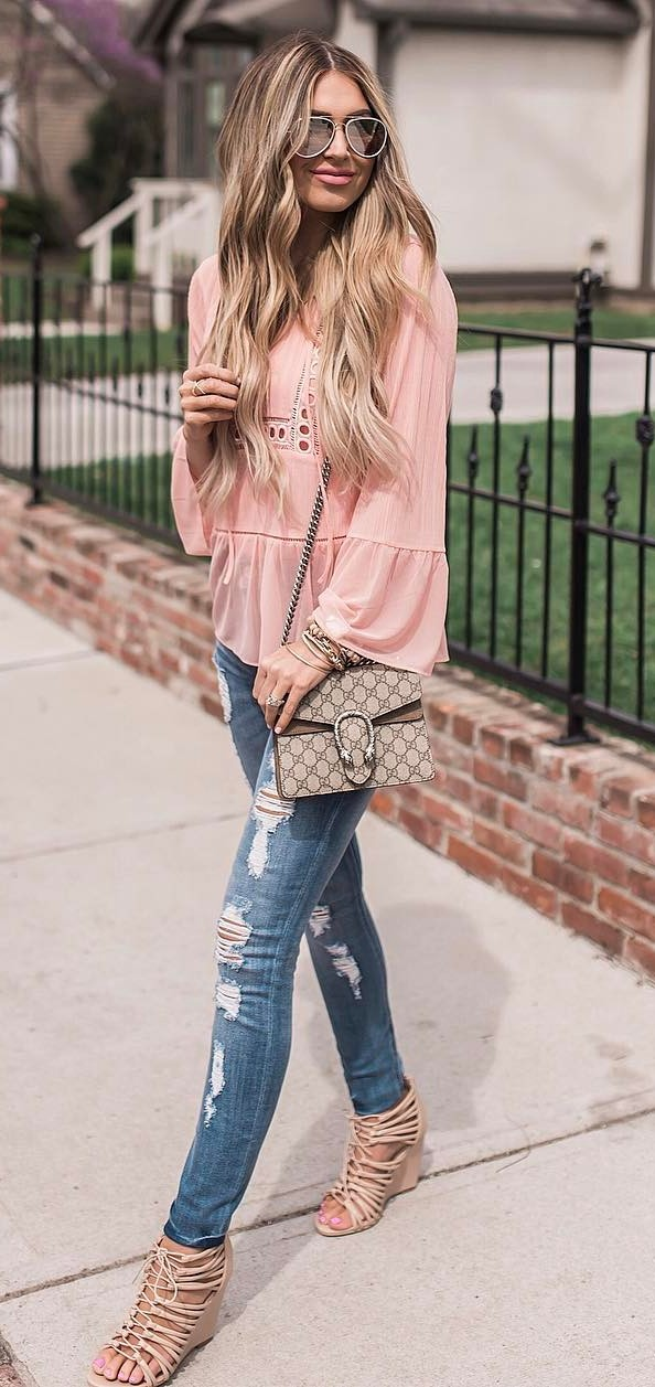 casual style obsession: blouse + rips
