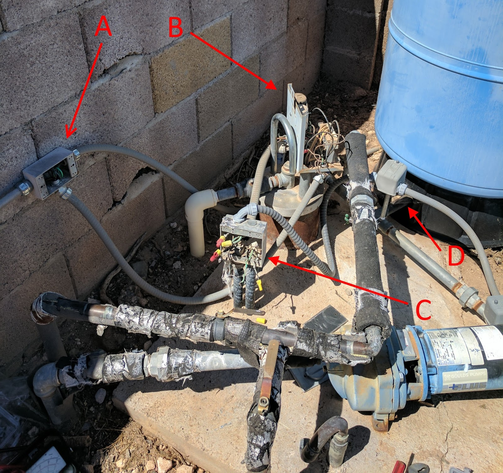 small resolution of the connection box a is where the float connects at the left hand side on the right is 220 vac coming in from the main panel and both go down the bottom