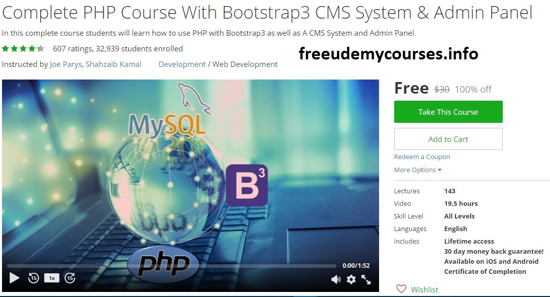 100 Free Udemy Course Complete PHP Course With