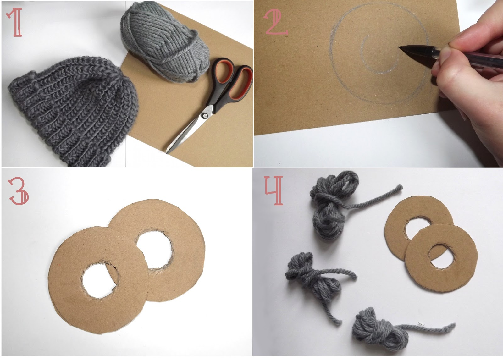 comment faire 1 pompon en laine. Black Bedroom Furniture Sets. Home Design Ideas