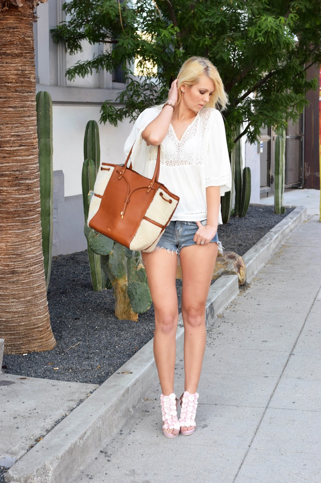 Jeffrey Campbell heels, flower heels, boho style, arts district, los angeles, shorts, summer