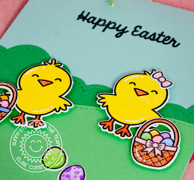 Sunny Studio: Happy Easter Card by Elise Constable using A Good Egg stamps & dies.