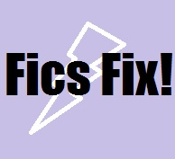 fics fix title image with purple background and white lightning bolt