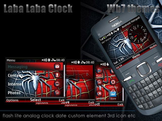 Laba laba clock Theme Nokia C3-00 I Free   Store wb7themes com
