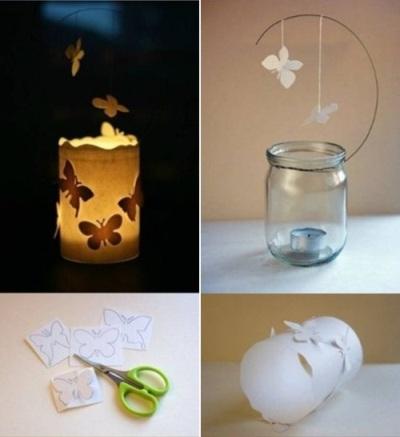 Lentera kupu-kupu. Hias toples dengan kupu-kupu kertas, lalu tambahkan lilin di dalamnya.