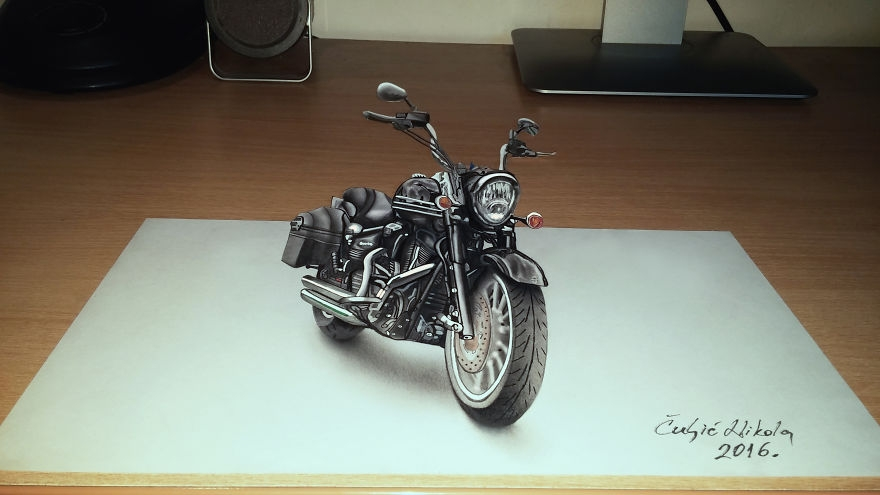 13-Black-Harley-Davidson-Motorcycle-Nikola-Čuljić-2D-Anamorphic-Drawings-that-Look-3D-www-designstack-co
