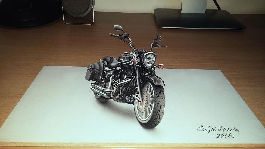 13-Black-Harley-Davidson-Motorcycle-Nikola-Čuljić-2D-Anamorphic-Drawings-that-Look-3D-www-designstack-co