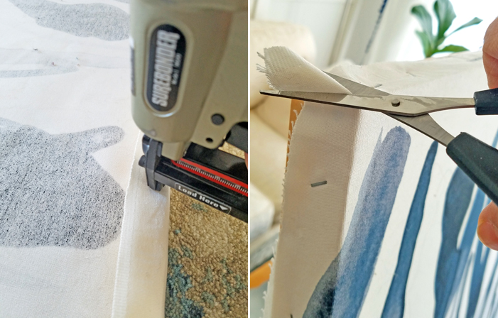 stapling fabric to wooden frame and cutting fabric corners with scissors