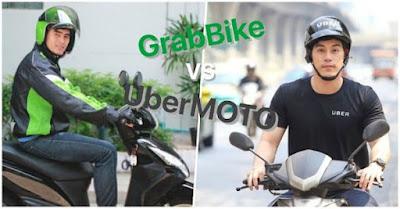 Grab và Uber đang cạnh tranh nhau thị trường đi chung xe máy