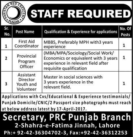 Pakistan Red Crescent Society Lahore Jobs